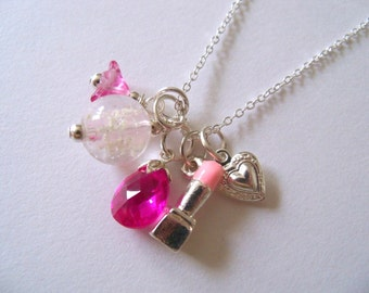 Little Girl Necklace, Glow in the Dark, Hot Pink Cubic Zirconia, Girly Girl, Diva, Girl Jewelry, Pink, Dress Up