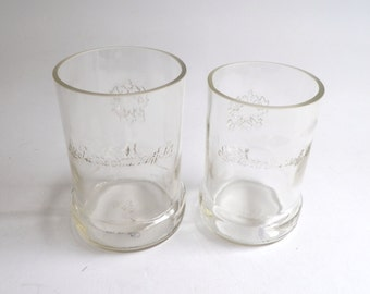His and Hers Smirnoff Vodka Bottle Drinking Glasses Short Tumblers