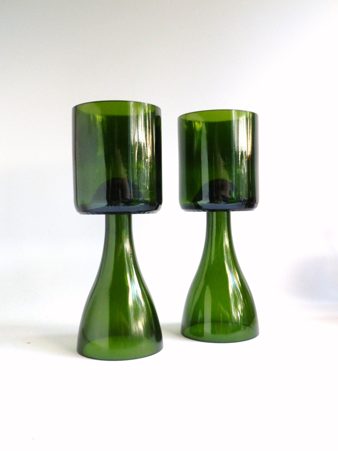Green glass champagne bottle candle holder chalice by for Champagne bottle candle holders