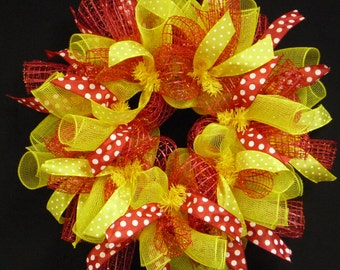 Spring to Summer Wreaths, Red Yellow, Wreaths for Doors, Poly Mesh Wreaths (1056)