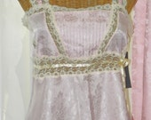 Vintage Pink Silk Lace Set Ribbons Bows Lace Pleated Bodice New With Hang Tags Unworn Size Large