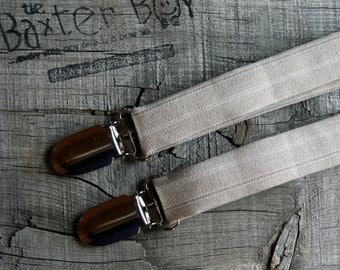 Khaki polyester pinstripe suspenders for little boys - photo prop, wedding, ring bearer, accessory