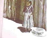 NAVAJO Indian Girl at Indian Wells, Arizona--Circa 1949--Photo taken from ORIGINAL GLASS Slide
