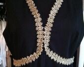 Black Sleeveless Metallic Gold Trim Maxi Dress L-XL