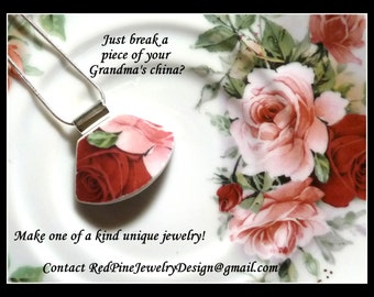 ONE -1- Custom Made Broken China Plate Necklaces Made From Your PERSONAL PLATE