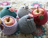 Apple Cozy crocheted in pure cotton yarn with vintage buttons