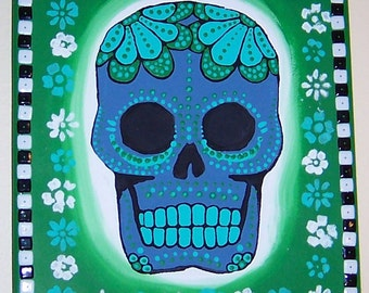 Original Painting Canvas F: blue, green, black, and white Dia de los Muertos (Day of the Dead) skull on canvas.