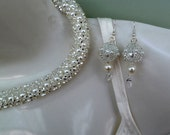 white pearl and silver beaded vintage style necklace & ear-rings