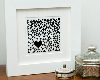 Geometric Heart screen print
