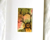 Abstract floral note card original watercolor art OOAK pen and ink gold green flower blank card w/ envelope all occasion stationery