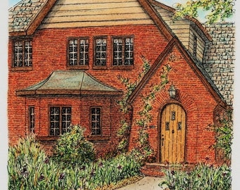 "Architectural Art Pen and Ink, Original Pastel, Door Art 8"" x 7.5"" Red Gold Streetscape, Brick Building Home Portrait, Architecture Drawing"
