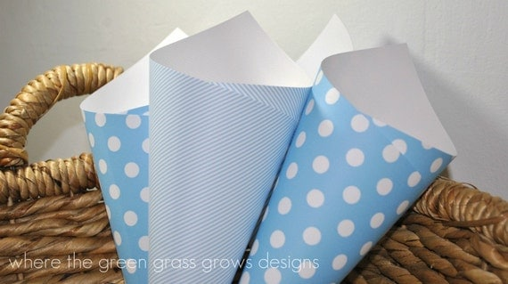 Blue and White Polka dot and Striped Popcorn Funnels