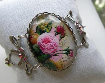 Victorian Rose Bracelet Shabby Chic Rose Bud Bracelet Pink Bracelet Fuchsia Pink Roses Paris Shabby Chic French