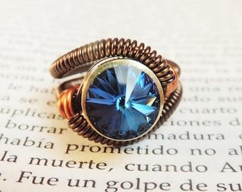 custom size steampunk ring jewelry- swarovski crystal - steampunk rings - handmade keoops8