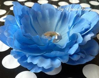 Blue Peony Hair Clip