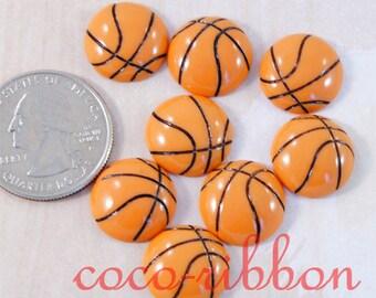 15mm 12pcs Basketball Sport Ball Cheer Flatback Resin Cabochons (C29)