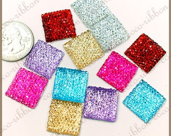 18mm 12pc Square Rhinestone Sparkle Flatback Resin Cabochons - Choose your colors