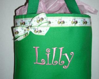 Personalized Small Tote Bag, John Deere Ribbon Trim, Free Monogram, Color Choices