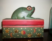 Painted Frog Wooden Box