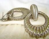 Vintage Silver Scalloped Hoop Clip on Pierced Earrings