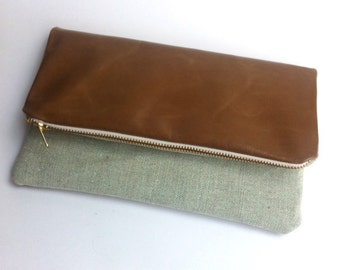 SAMPLE SALE! Tan leather and metallic fabric clutch bag, 1 bag, 6 ways to style, small