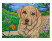 Yellow Lab retriever painting landscape ORIGINAL oil pastel painting Dog art labrador retriever animal