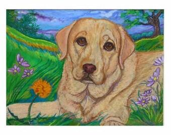 Yellow Lab retriever painting landscape ORIGINAL oil pastel painting Dog art labrador retriever animal