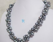 Gray Pearl Necklace - 21 Inches 4-9mm Dark Gray Freshwater Pearl Necklace - Free Shipping