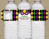 Mardi Gras Masquerade Party Water Bottle Labels - DIY U Print