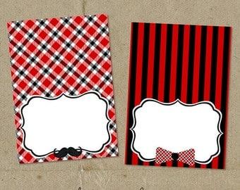 Red & Black Little Man Birthday Party Food Label Tents - DIY digital U Print - Instant Download