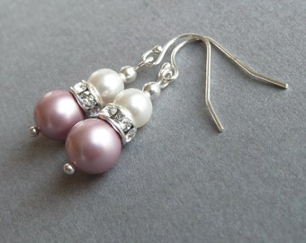 Dusky Pink Earrings - Rose Pink Bridesmaid Jewelry - White and Soft Pink Pearl Drop Earrings - Tea Rose Pink Bridesmaid Gift - Blush Wedding