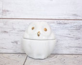 Reserved for Ashley White Owl Candle Holder with Gold Eyes & Beak, Vintage 2 Pieces