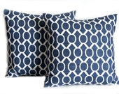 Euro Sham Throw Pillow Cover 24 x 24 Decorative Pillow Home Decor Cushion Cover - Premier Navy Blue on White Slub Sydney by Premier Prints