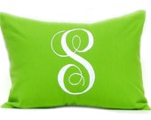 Monogrammed Pillow Cover Dorm Decor Pillow Solid Bright Green Pillow Monogram 12 x 16 Personalized Gift  Nursery Decor