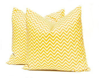 Yellow Pillow Covers, Yellow Chevron, Decorative Throw Pillow Cover, Chevron Pillow Cover, One 22 x 22 Inches, Corn Yellow and White