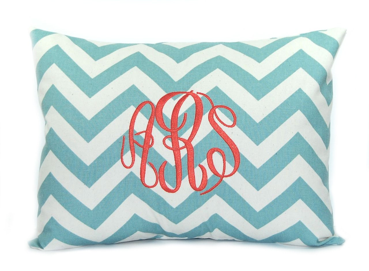 Decorative Pillows With Monogram : Personalized Monogrammed Pillow with Insert Decorative Throw