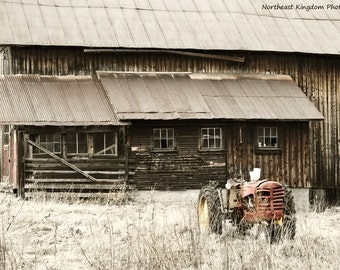 Antique Tractor and an Old Vermont Barn Print