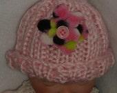 PREEMIE HAT Hand Knit Beanie Kufi Infant pink w pink , black & green fleece flower