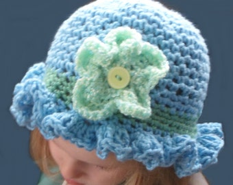 Toddler Hat, Hand crocheted hat, Blue & Green hat, Hand made hat, Child's hat, size 9 mos to 4 years, Ruffled Flower baby hat