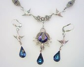 Victorian Stlye Silver Swallow Bermuda Blue Crystal Necklace Set