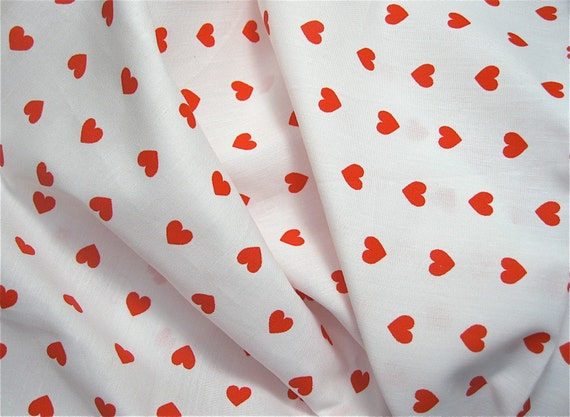 Vintage Fabric Red Heart on White Cotton 1970s  70s