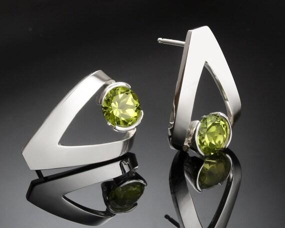 peridot earrings, August birthstone, Argentium silver earrings, green gemstones, eco friendly, tension set, artisan earrings - 2470