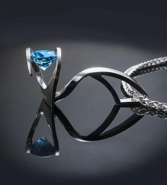 Swiss blue topaz necklace, statement pendant, Argentium silver, blue topaz, modern jewelry, December birthstone, artisan necklace - 3479