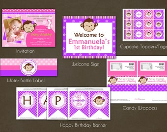 Monkey Girl Birthday Party Package Printable