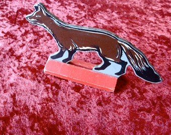 Vintage Wolf  EXC Red Stand  Wood  6 1/2 inches Judy Toys  Wooden Toy