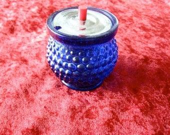 Blue Cobalt Serving Bowl Salt Bakelite Top Japan Pebble