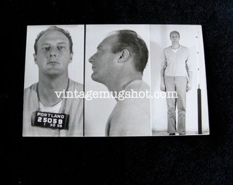 1959  Portland Oregon  Police Department Criminal MUG SHOT Tall Man in Sweater