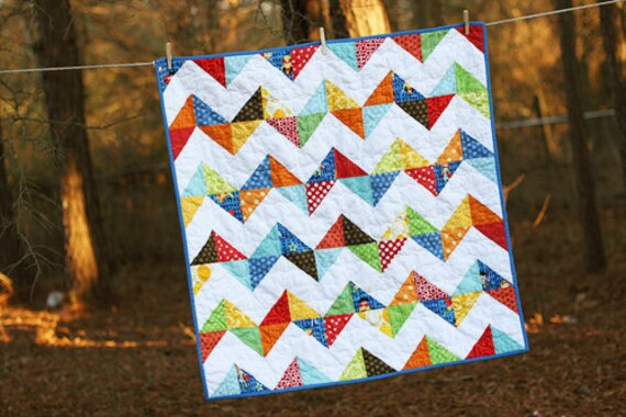 Modern Chevron Superhero Baby Quilt by iguesssew on Etsy