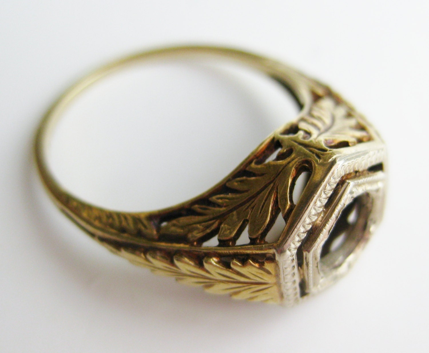 Vintage Wedding Ring Art Deco 14k Gold Filigree Engagement