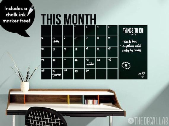 Chalkboard Calendar Wall Decal : Wall decal calendar free chalk ink marker monthly by decallab